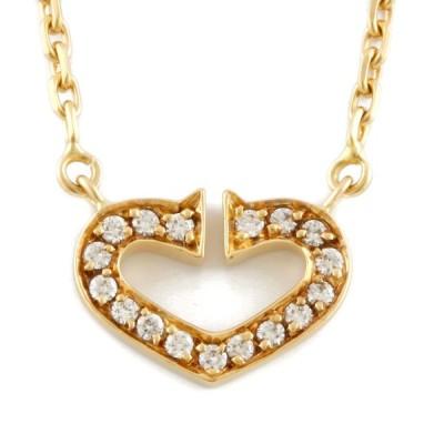 カルティエ CARTIER K18 ネックレス Cハート ダイヤモンド 18金 K18ゴールド ゴールド【BJ】 中古