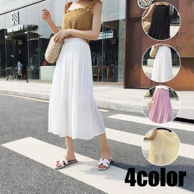 プリーツスカート レディース シフォン 夏 スカート 韓国風 Aライン 大きいサイズ ロング丈 フレア オシャレ 着痩せ コーデ マキシ丈 きれいめ ゆったり