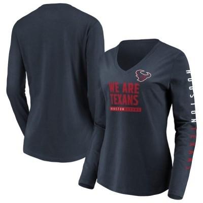 ファナティクス ブランデッド レディース Tシャツ トップス Houston Texans Fanatics Branded Women's Team Slogan Long Sleeve V-Neck T-Shirt