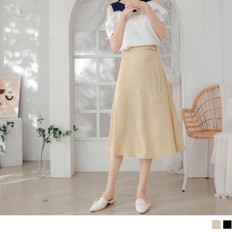 簡約優雅A字傘襬雪紡中長裙.附編織腰帶