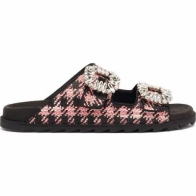 ロジェ ヴィヴィエ Roger Vivier レディース サンダル・ミュール シューズ・靴 Slidy crystal-buckle tweed slides Pink