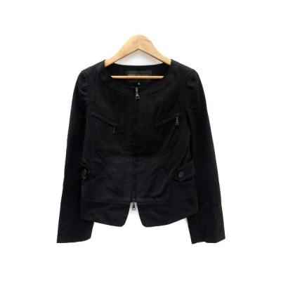 【中古】ボディドレッシングデラックス BODY DRESSING Deluxe ジャケット ノーカラー ショート丈 ジップアップ 36 黒 ブラック レディース 【ベクトル 古着】