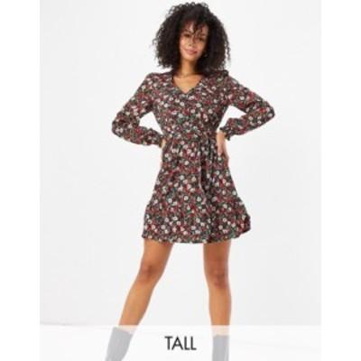 ニュールック レディース ワンピース トップス New Look Tall belted tea dress in floral print Black pattern