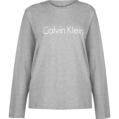 カルバンクライン Calvin Klein レディース 長袖Tシャツ ロゴTシャツ トップス Logo Long Sleeve T Shirt Grey Hthr
