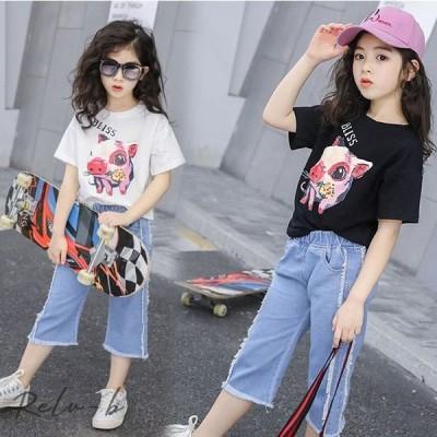 子供服 セットアップ キッズ 女の子 韓国子供服 上下セット 2点セット トップス 半袖 Tシャツ 七分丈パンツ ガウチョパンツ デニム 可愛い 春夏 通学着 通園着