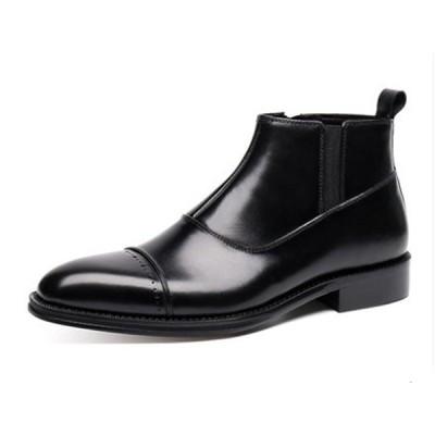 C メンズ靴 ビジネス靴 本革 ストレートチップ サイドゴア エンジニア マーティンブーツ 革靴 紳士靴 ショートブーツ カジュアル ウエスタン ブラックCB8902
