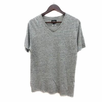 【中古】ビームス BEAMS カットソー Tシャツ Vネック 半袖 麻 リネン S グレー /MN メンズ