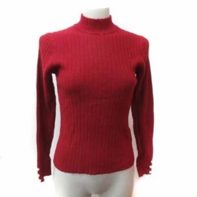 【中古】未使用品 クイーンズコート QUEENS COURT ニット セーター 長袖 リブ 2 赤 ボルドー /YI レディース