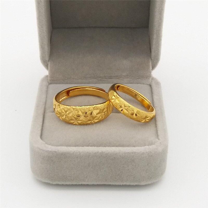 時尚日韓沙金戒指男女情侶對戒活口鍍金結婚仿真黃金戒指飾品禮物