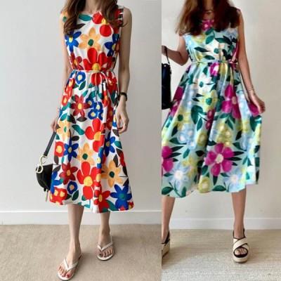 春夏 ドレス ロングドレス サマードレス ワンピース 花柄 ノースリーブ ミモレ丈 カジュアル パーティ 二次会