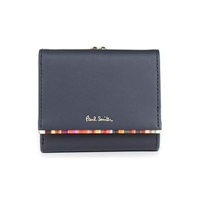 [ポール・スミス] 財布 レディース 二つ折り財布 ミニ財布 ミニウォレット 牛革 羊革 クロスオーバーストライプトリム W544 (ネイビー)