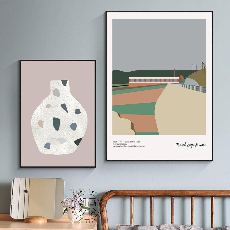 簡約北歐莫蘭迪色系掛畫幾何形狀花瓶ins風景小眾臥室三聯裝飾畫