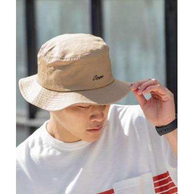 coen メンズ コーエンロゴ刺繍バケットハット 帽子 ベージュ