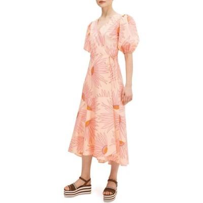 ケイト スペード Kate Spade New York レディース ワンピース ラップドレス ワンピース・ドレス Falling Flower Wrap Dress Light Guava Juice