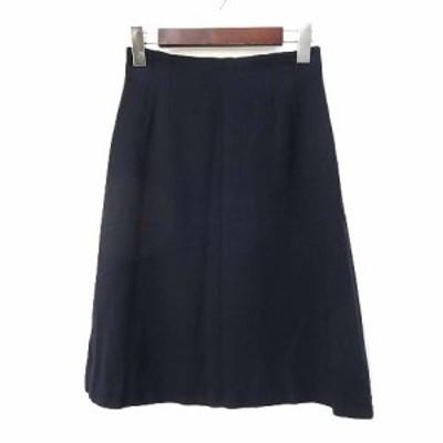【中古】ハリス HARRISS スカート 36 S 紺 ネイビー ウール ひざ丈 無地 シンプル レディース