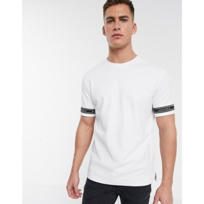 リバーアイランド River Island メンズ Tシャツ トップス Maison Riviera t-shirt with sleeve taping in white ホワイト