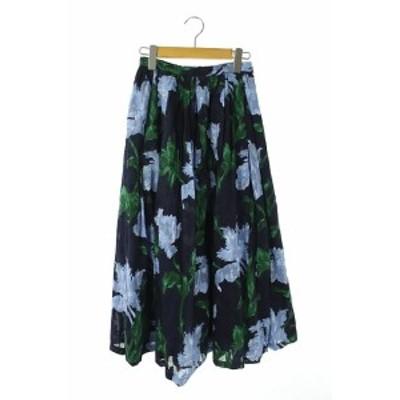 【中古】プラージュ Plage 花柄ジャガードロングスカート フレア タック 36 紺 緑 水色 /AA ■OS レディース