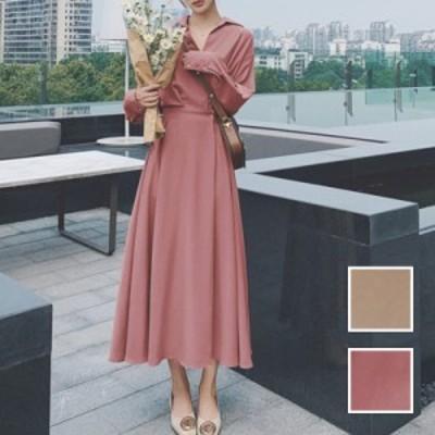 韓国 ファッション レディース ワンピース 春 夏 新作 カジュアル naloJ825  オーバーサイズ ウエストマーク ドレープ シンプル コーデ