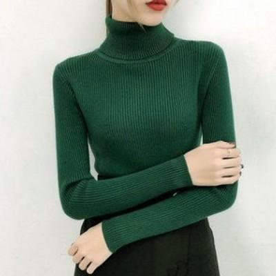 レディタートルネックニットセーター長袖秋冬スリムセーター女性用ダークグリーン