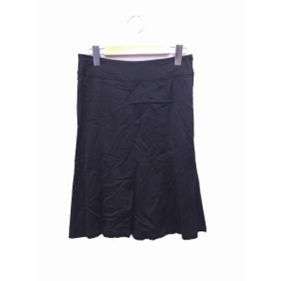 【中古】ボッシュ BOSCH スカート フレア 無地 シンプル ひざ丈 36 ブラック 黒 /FT15 レディース