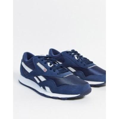 リーボック メンズ スニーカー シューズ Reebok Classic nylon sneakers in navy Navy