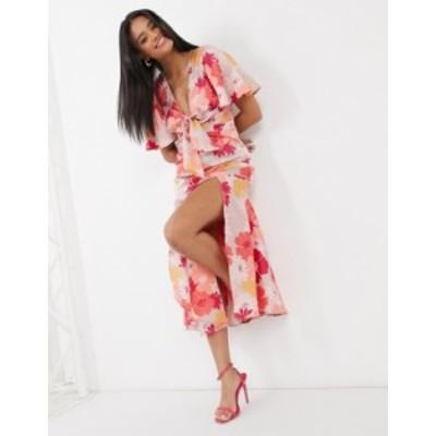 エイソス レディース ワンピース トップス ASOS DESIGN washed satin midi tea dress in floral print Pink based floral