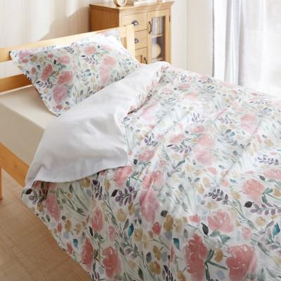 サテン生地の枕カバー&掛け布団カバーセット(2点セット)<フラワー>