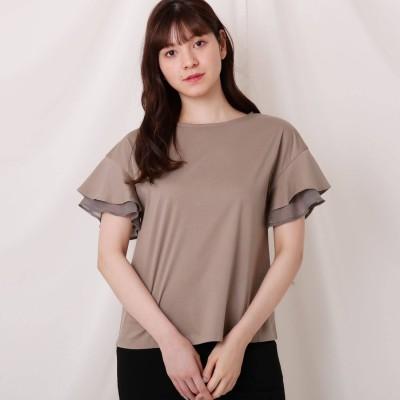 クチュール ブローチ Couture brooch 【WEB限定】シルケットバックフリルカットソー (タバコブラウン)