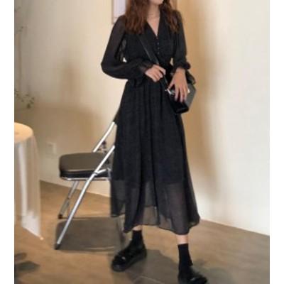 韓国 ファッション レディース ワンピース ドット柄 Vネック シフォン ロング 透け感 長袖 ゆったり 大人可愛い カジュアル 春 新作