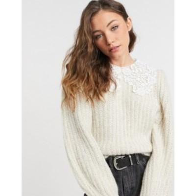 トップショップ レディース ニット・セーター アウター Topshop crochet collar sweater in ecru Cream