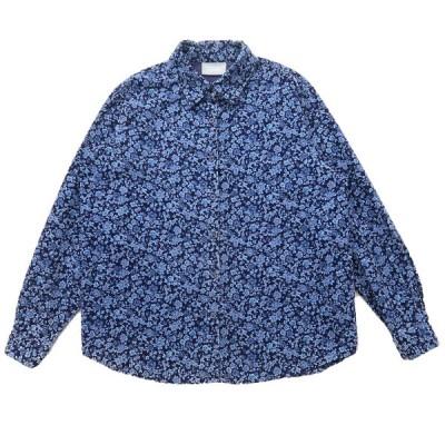 古着 コーデュロイシャツ 長袖 花柄 ネイビーベース サイズ表記:--