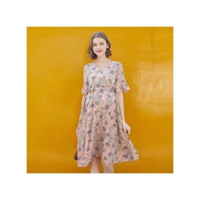 フローラル リボン マタニティドレス フォーマル パーティードレス お呼ばれドレス kh-1174
