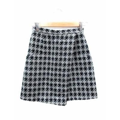 【中古】クローラ crolla 台形スカート ミニ 刺繍 千鳥格子 34 グレー 黒 ブラック /AU レディース