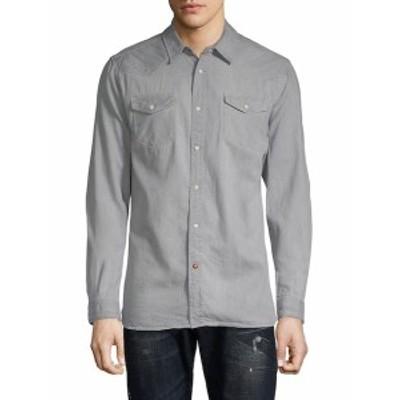 スコッチ&ソーダ メンズ カジュアル ボタンダウンシャツ Ams Blauw Classic Western Cotton Button-Down Shirt