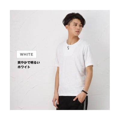 【マックハウス】 MOSSIMO モッシモ レイヤードジャガード半袖Tシャツ 1274-8738 メンズ ホワイト L MAC HOUSE