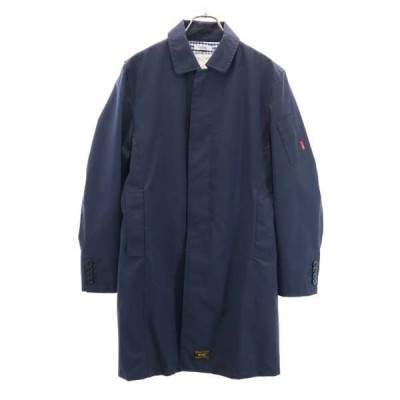 ダブルタップス ステンカラー ロング コート 2 紺 WTAPS スプリングコート メンズ 古着 210602