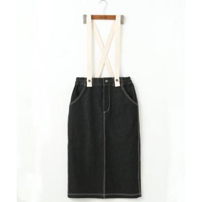 ダブルネーム DOUBLE NAME サス付きナロースカート (黒)