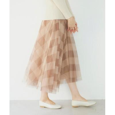 【ケティ】 シフォンチェックフレアスカート ≪手洗い可能≫ レディース ブラウン M ketty