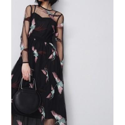 パーティードレス ロング丈 ワンピース ブラック 透け感 シースルー 鳥刺繍 長袖 個性的 大人 上品 セクシー お呼ばれ インスタ映え フォトジェニック