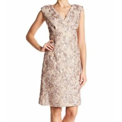 Marina マリーナ ファッション ドレス Marina NEW Beige Womens Size 8 V-Neck Soutache Sequin Sheath Dress