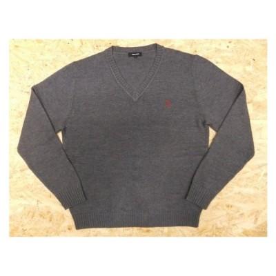 COMME CA BOYS コムサボーイズ Lサイズ レディース ニット セーター 長袖 Vネック リブ編み アクリル×コットン 杢グレー系