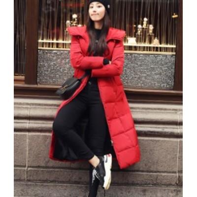 ダウンコート ロング 赤 レッド 黒 ブラック フード 大人  秋物 冬物 最新 レディース ファッション 2020 人気 可愛い 大人