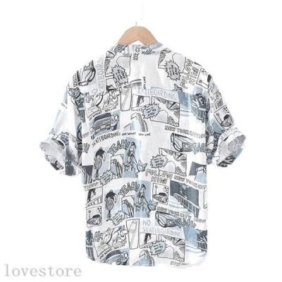 シャツ メンズ リネンシャツ 原宿風 5分袖 半袖 ヘンリーネック リンネル 柔らかい 快適 速乾 汗染み防止 通気 涼しい かっこいい