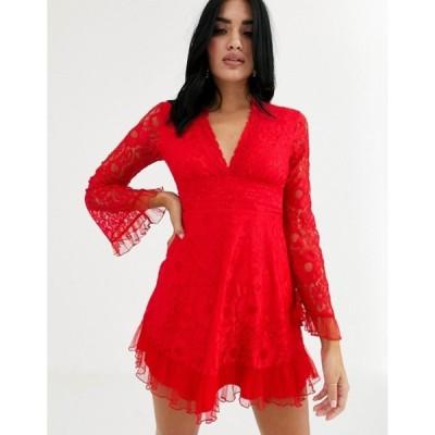 ラブトライアングル レディース ワンピース トップス Love Triangle plunge front lace skater dress in red