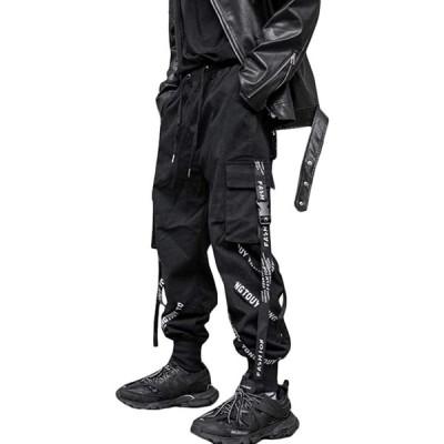 Gergeousメンズ ロングパンツ ゆったり 黒 サルエルパンツ カジュアル テーパードパンツ ダンス 原宿系 ジョガーパンツ ストリート系 カーゴ