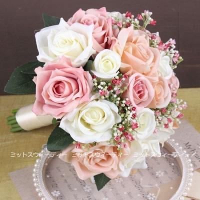 ウエディングブーケ 19色 安い 二次会 結婚式 ブーケ 花嫁 アレンジメント 披露宴 赤 ウェディング用 造花 ブライダルブーケ 手作り