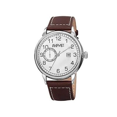 【新品・送料無料】August Steiner Men 's as8182ssbrシルバー多機能クォーツ腕時計ホワイトダイヤルとブラウンとホワイトステッチレザーストラッ