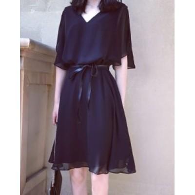 ひざ丈 ワンピース シフォン 黒 ブラック お呼ばれ レディ 秋物 冬物 最新 レディース ファッション 2020 人気 可愛い 大人