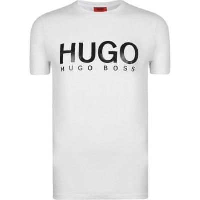 ヒューゴ ボス HUGO メンズ Tシャツ ロゴTシャツ トップス Dolive Logo T Shirt White/Black