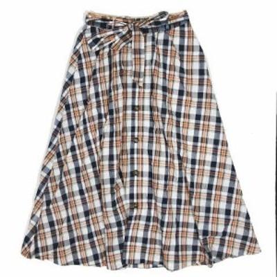 【中古】オゾック OZOC チェック柄 スカート フレア ミディアム丈 フロントボタン ベルト付き サイズ38 ネイビー ◎8